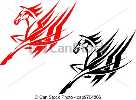 450x333 Clip Art Vector Of Tribal Horse Tattoo
