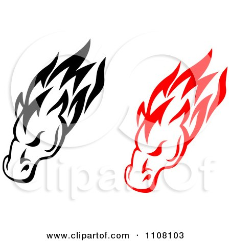 450x470 Clipart Black And Red Tribal Horse Heads