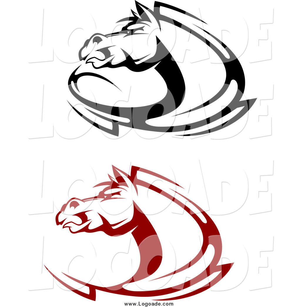 1024x1044 Clipart Of Black And Red Aggressive Horse Logos By Vector