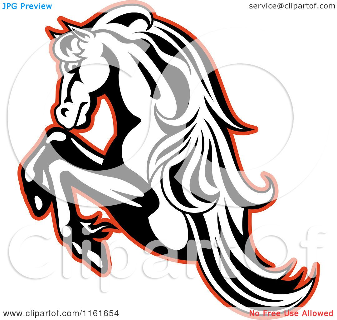 1080x1024 Clipart Of A Black And White Rearing Horse Outlined In Red