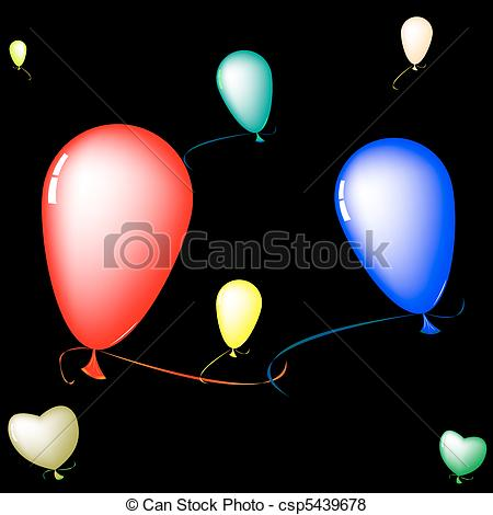 450x470 Colored Baloons Over Black Background, Abstract Art Vector
