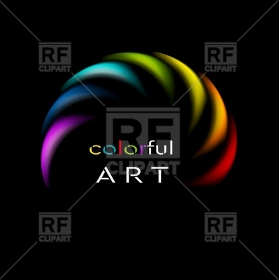 399x400 Colorful Abstract Rainbow On Black Background Royalty Free Vector