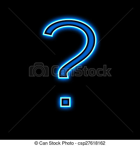 450x470 Neon Question Mark Is Blue, On A Black Background Stock