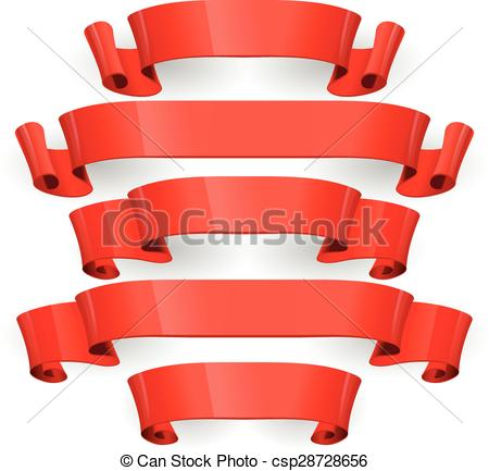 450x433 Red Glossy Ribbons On A Black Background. Eps 10 Clipart Vector