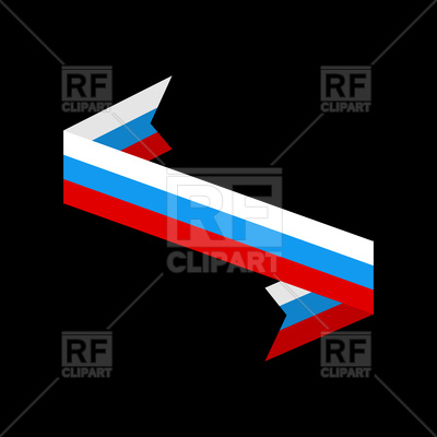 400x400 Ribbon With Russia Flag On Black Background Royalty Free Vector