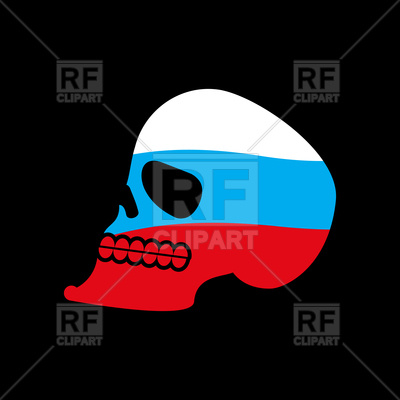 400x400 Russia Skull On Black Background Royalty Free Vector Clip Art