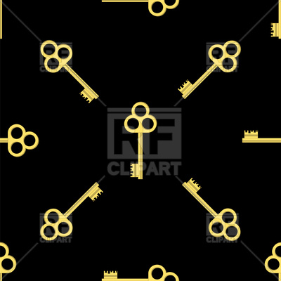 400x400 Seamless Yellow Old Keys On Black Background Royalty Free Vector