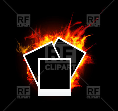 400x376 Burning Photo Frame On Black Background Royalty Free Vector Clip