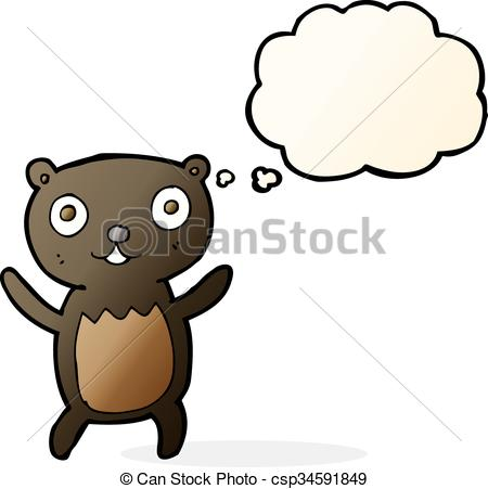 450x451 Cartoon Black Bear Cub With Thought Bubble Eps Vector