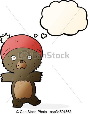 363x470 Cartoon Cute Black Bear With Thought Bubble Clip Art Vector