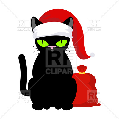 400x400 Black Cat In Christmas Hat With Red Bag Royalty Free Vector Clip