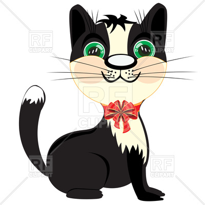 400x400 Black Cat With Red Small Bow On Neck Royalty Free Vector Clip Art