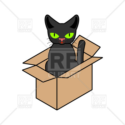 400x400 Cat In Box Isolated Royalty Free Vector Clip Art Image