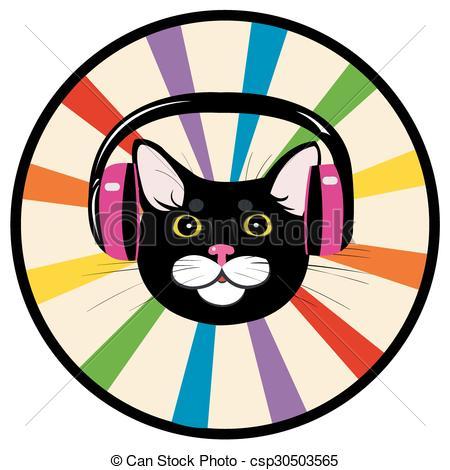 450x470 Cat Music Headphones. Black Cat Listening To Music On Clip Art