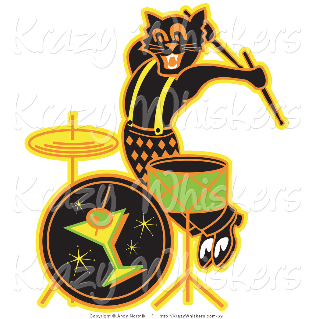 1024x1044 Critter Clipart Of An Enthusiastic Black Cat Playing The Drums