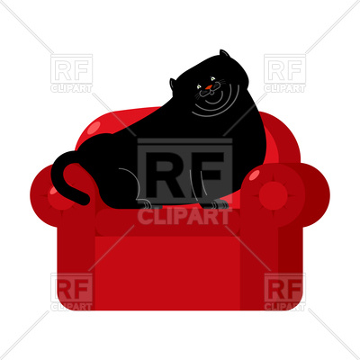 400x400 Fat Black Cat On Red Armchair Royalty Free Vector Clip Art Image
