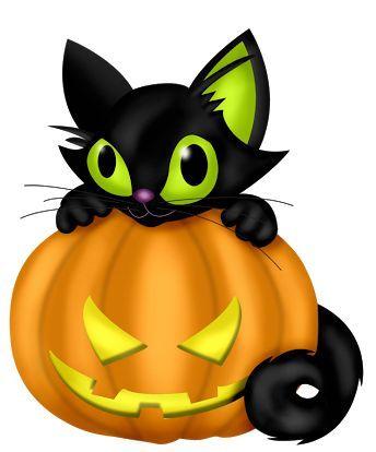 344x414 Halloween Pumpkin And Black Cat, Clip Art Art Halloween