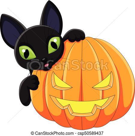 450x455 Vector Illustration Of Cartoon Black Cat Holding Halloween