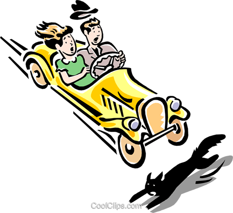 480x438 Car About To Hit Black Cat Royalty Free Vector Clip Art