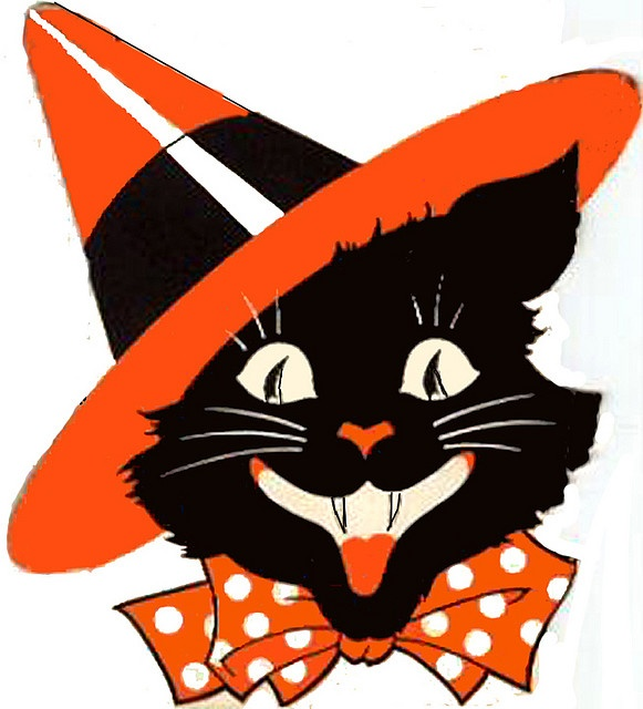 581x640 Collection Of Vintage Halloween Clipart Cat High Quality