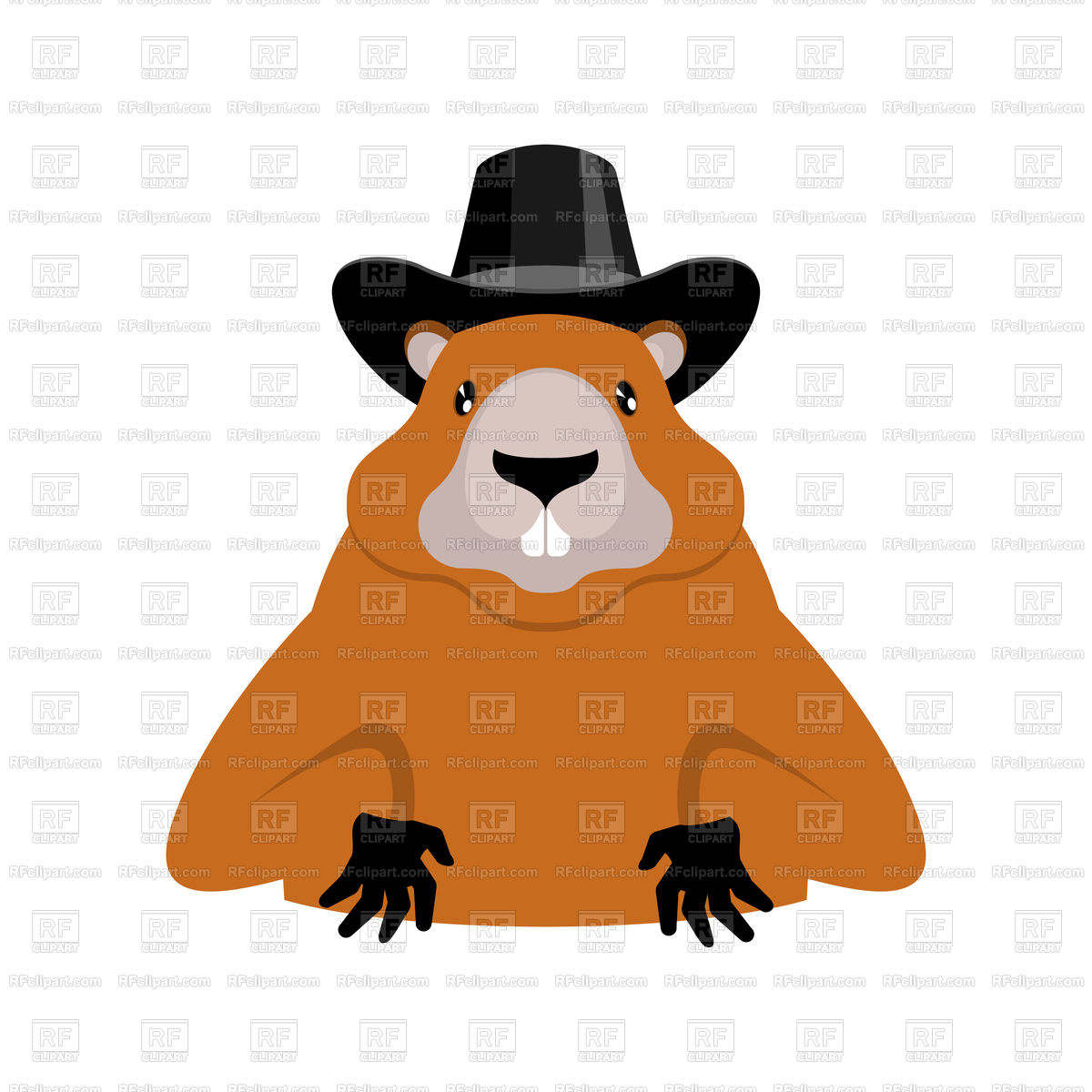 1200x1200 Groundhog In Black Hat Royalty Free Vector Clip Art Image