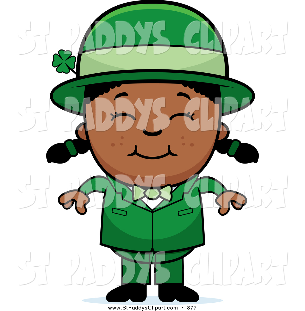 1024x1044 Vector Clip Art Of A Happy St Paddys Day Black Leprechaun Girl