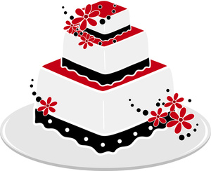 300x244 Black And White Wedding Cake Clip Art Free