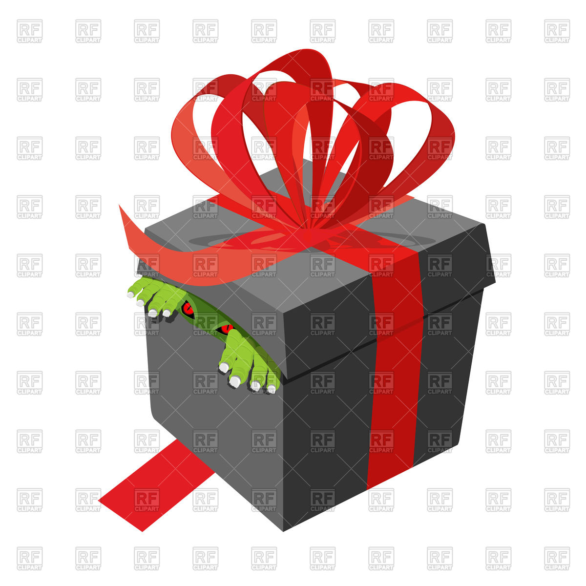 1200x1200 Black Gift Box With Monster Inside Royalty Free Vector Clip Art