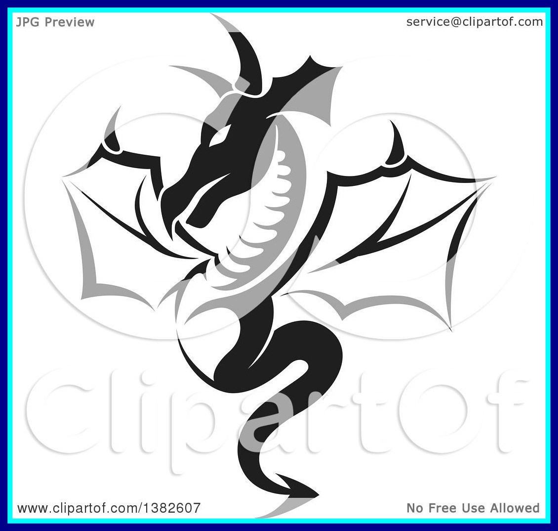 1130x1074 The Best Clipart Of A Black And White Dragon Tattoo Design Royalty