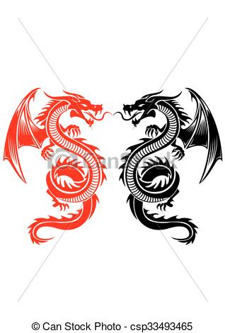 318x470 Black And Red Tribal Dragon Tattoo Vector Illustration Clip Art