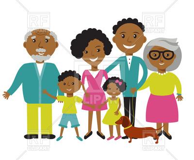 400x330 Happy African American Family Vector Image Vector Artwork
