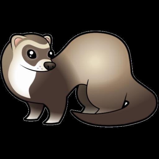 512x512 Black Footed Ferret Dog Cartoon Clip Art