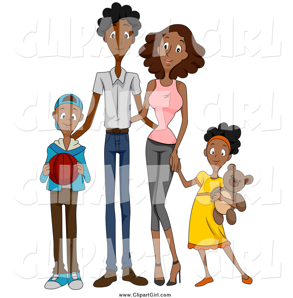 1024x1044 Clip Art Of A Happy Black Family Of Four By Bnp Design Studio