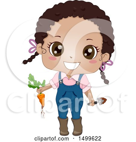 450x470 Clipart Of A Cute Black Girl Holding A Carrot Freshly Picked