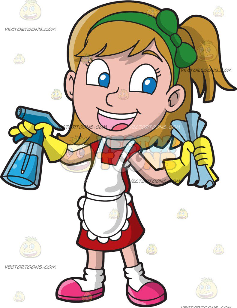 790x1024 Girl Cleaning Clipart