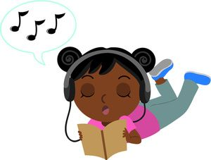 300x227 Reading Clipart Image Black Girl Reading A Book And Listening