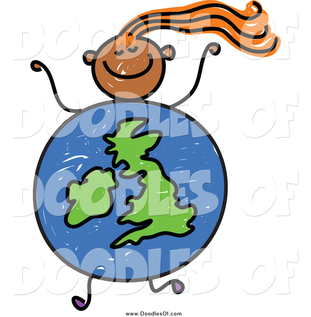 1024x1044 Vector Clipart Of A Doodled Orange Haired Black Girl With A Uk