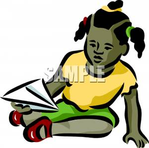 300x297 A Little Black Girl Playing With A Paper Airplane Clip Art Image