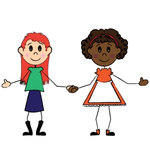 300x300 Friends Holding Hands Clipart Two Friends A Black Girl And White