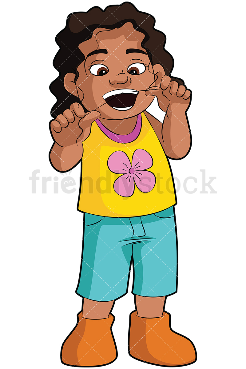 800x1200 Black Girl Flossing Her Teeth Vector Cartoon Clipart