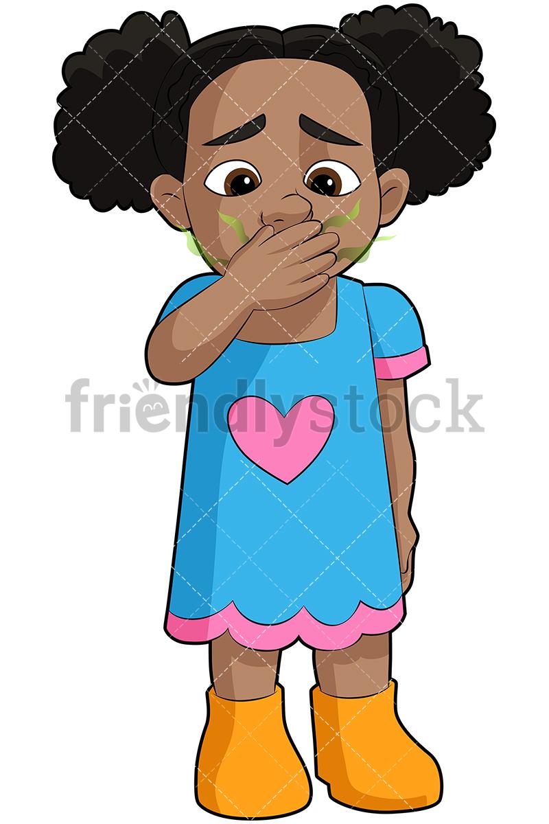 800x1200 Black Girl With Bad Breath Vector Cartoon Clipart