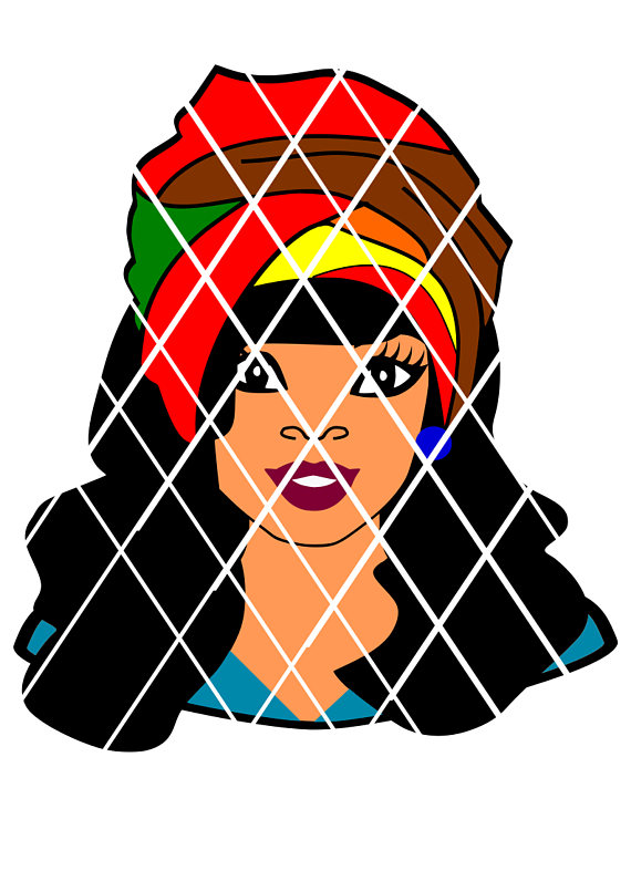 570x806 Sasha With Headwrap Svg,lady Svg,silhouette Cutting File,african