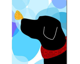 340x270 Black Labrador Retriever Dog Fine Art Print Wall Decor