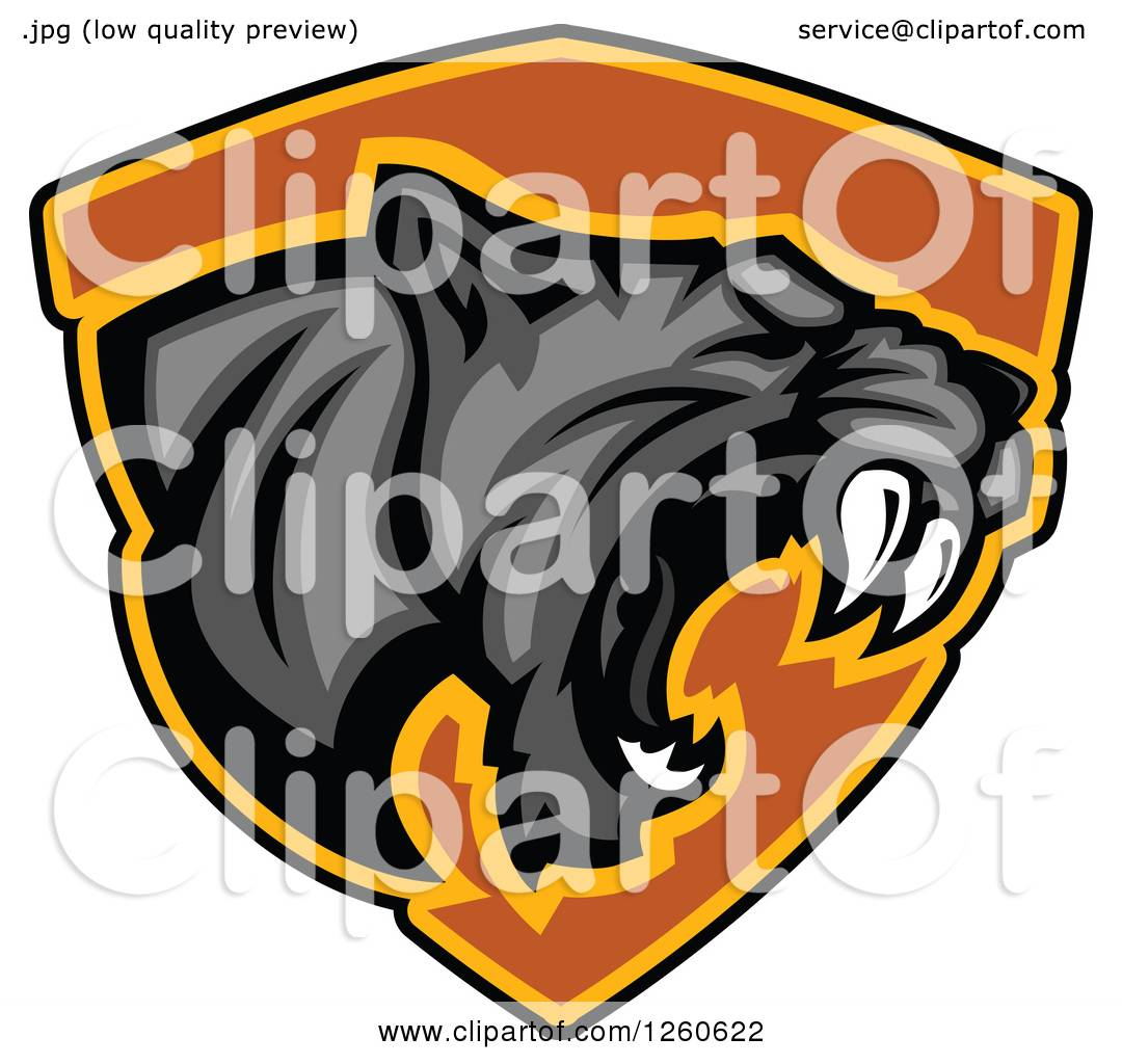 1080x1024 Clipart Of A Roaring Aggressive Black Panther Mascot Over A Black