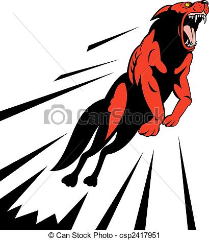 410x470 Illustration Of A Wolf Attack Jumping Through The Air, Black