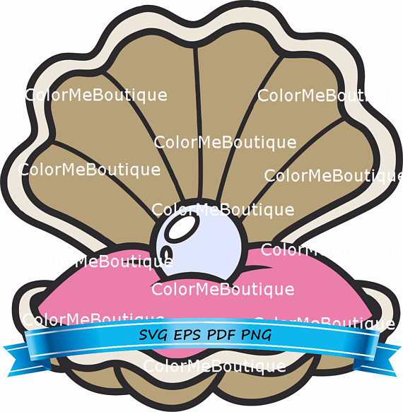570x583 Clam Shell W Pearl Clipart From Colormeboutique On Etsy Studio