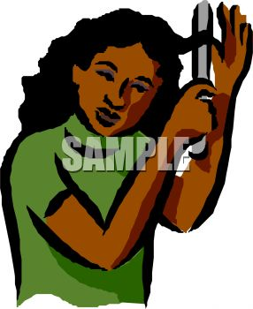 286x350 Royalty Free Cliprt Image Black Girl Curling Her Hair