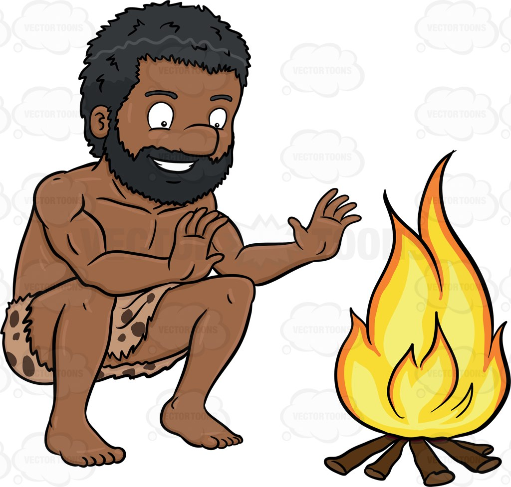 1024x977 A Black Caveman Smiles In Relief Beside A Bonfire Cartoon Clipart