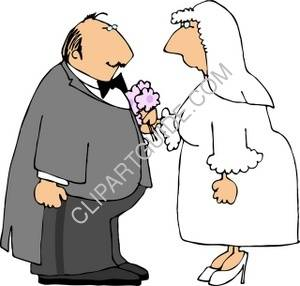 300x286 Bride And Groom Reciting Their Vows Clipart Picture