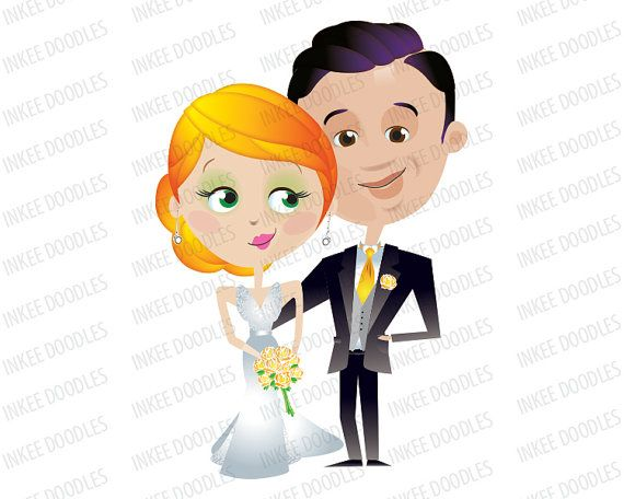 570x456 Wedding Clip Art Bride And Groom Bridal By Inkeedoodles On Etsy